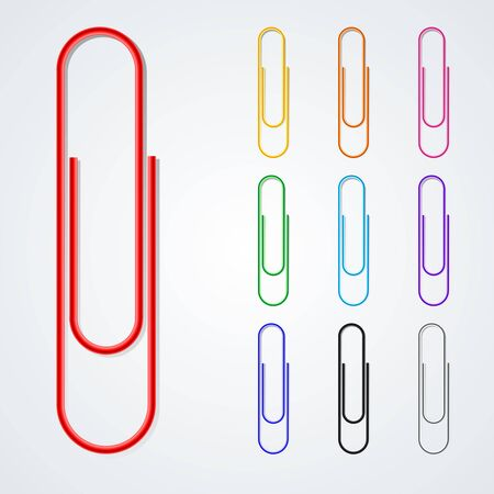 Color paper clip isolated on white background.    Vector illustration.