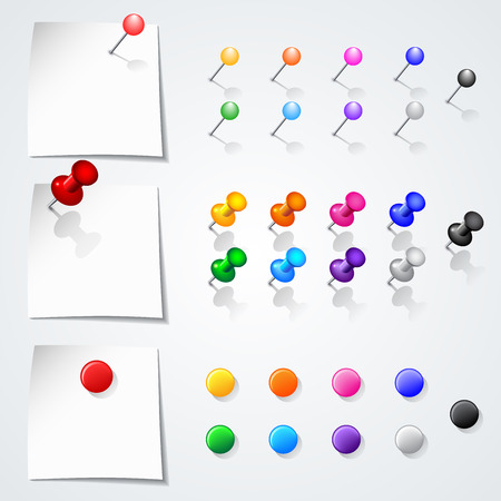 Set of push pins in different colors. Isolated on white background.  Vector illustration.