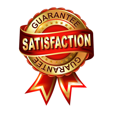 Satisfaction guarantee golden label with ribbon.  Vector illustration.