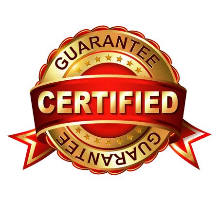 Certified guarantee golden label with ribbon.  Vector illustration. Vector