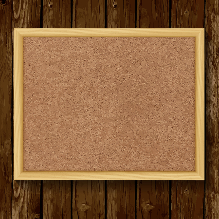 Brown cork board in a frame on wood background. Vector illustration.