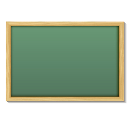 green board: Blank chalk green board in a wood frame for write and teach on white background.   Vector illustration.