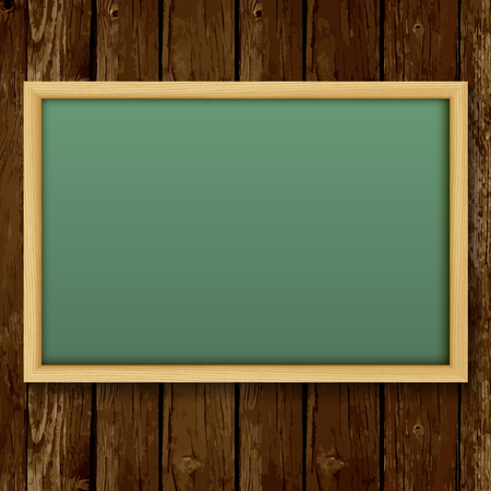 green board: Blank chalk green board in a wood frame for write and teach on wood background.   Vector illustration.