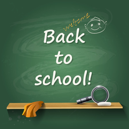 green board: Back to school - card or background. Chalk green board with lupe.    Vector illustration. Illustration