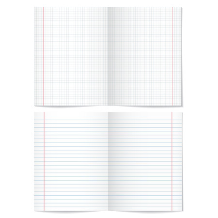 paper sheets: Sells and strips notebook paper sheets on white background.    Vector illustration.