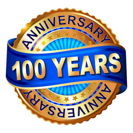 リボン付き 100 年周年記念ゴールデン ラベル。ベクトルの図。