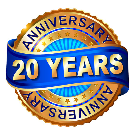 20 years anniversary golden label with ribbon. Vector illustration. Vectores