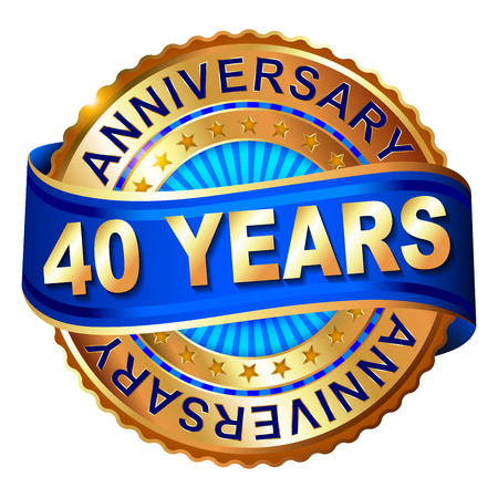 40 years anniversary golden label with ribbon. Vector illustration.