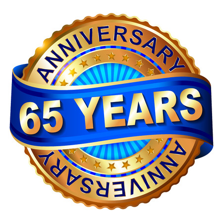 65th: 65 years anniversary golden label with ribbon. Vector illustration. Illustration
