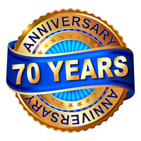 70 years: 70 years anniversary golden label with ribbon. Vector illustration.