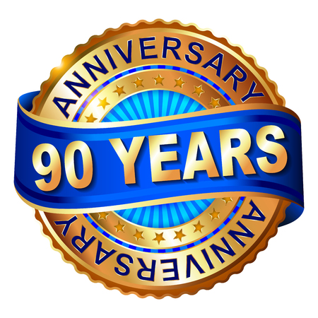 90 years: 90 years anniversary golden label with ribbon. Vector illustration.