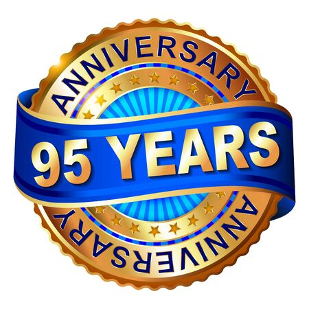 95: 95 years anniversary golden label with ribbon. Vector illustration.