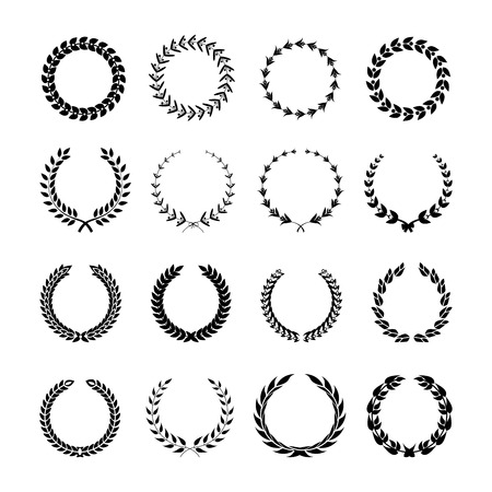 Set of black and white silhouette circular laurel foliate and wheat wreaths depicting. Vector illustration.