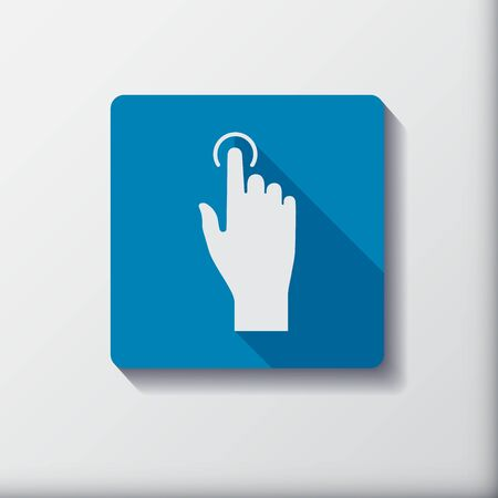 pressed: Touch icon, hand with pressed finger in flat style. Vector Illustration. Illustration