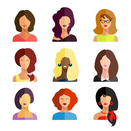 Avatars, business women flat icons set isolated on white background for web and mobile application. Vector illustration.