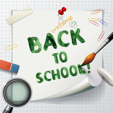 lupe: Welcome Back to school background or card with eraser, brush and lupe.    Vector illustration.