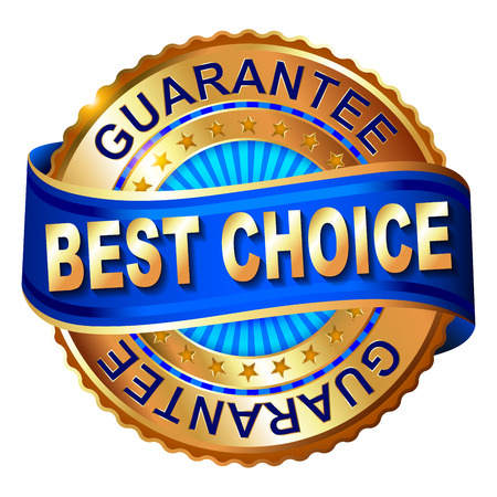 Best choice golden label with ribbon.  Vector illustration.