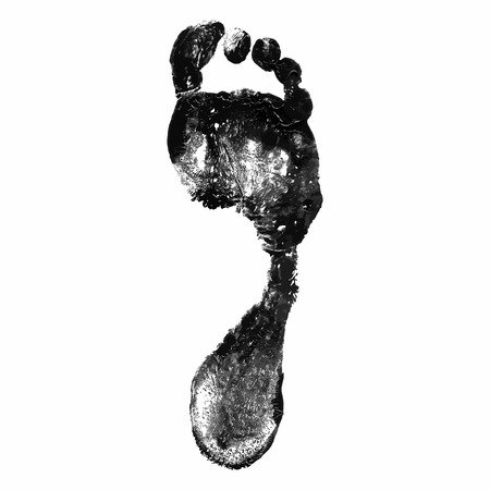 Foot print on white background. Vector illustration.