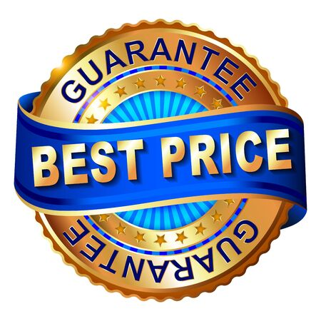 Best price golden label with ribbon. 