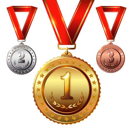 First place. Second place.Third place.Award Medals Set isolated on white with red ribbons and stars. Vector illustration.