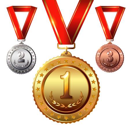 Primer lugar. En segundo lugar place.Third. Medallas del premio conjunto aislado en blanco con cintas rojas y las estrellas. Ilustración del vector.