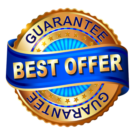 Best offer golden label with ribbon. 