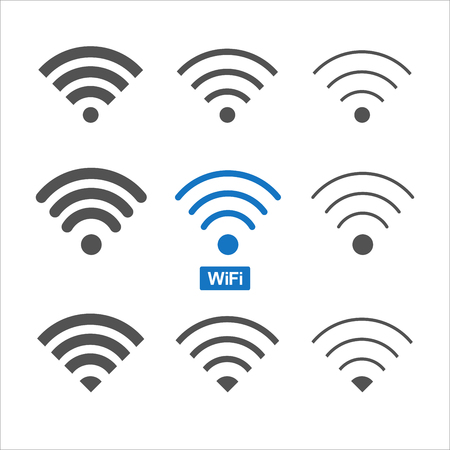 Set of nine different wireless and wifi icons for design.Vector Illustration.