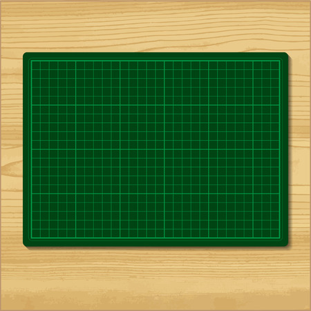 mat: Green cutting mat isolated on wood background Illustration