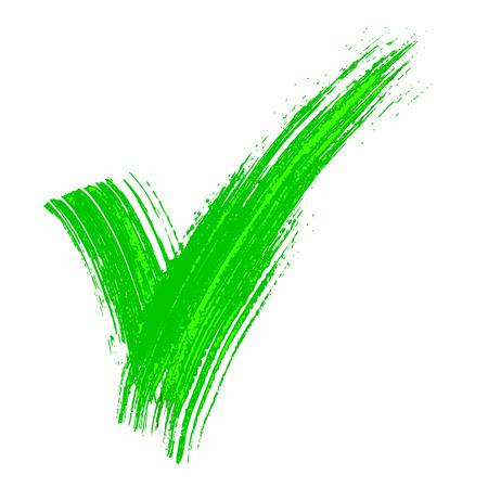 hand made: Hand made green acrylic validation V icons set Illustration