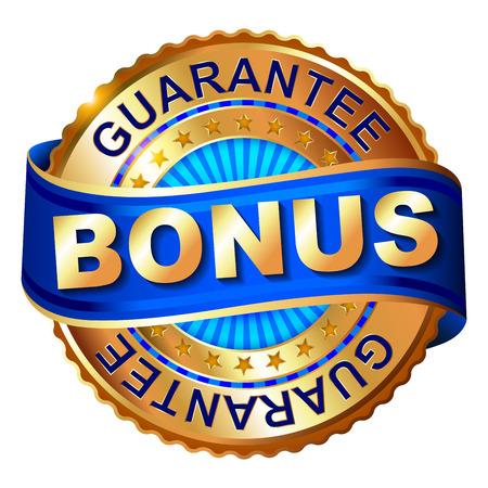 Bonus golden label with ribbon Reklamní fotografie - 39044107