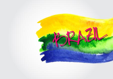 Handmade watercolor Brazil flag background Illustration