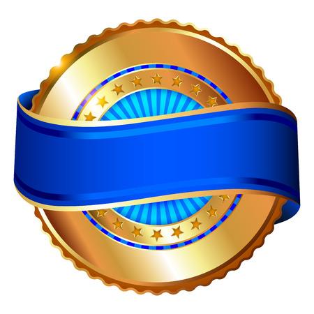 Empty golden label with ribbon  イラスト・ベクター素材