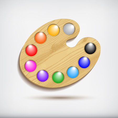 Wood art palette with colors,isolated on white background  イラスト・ベクター素材