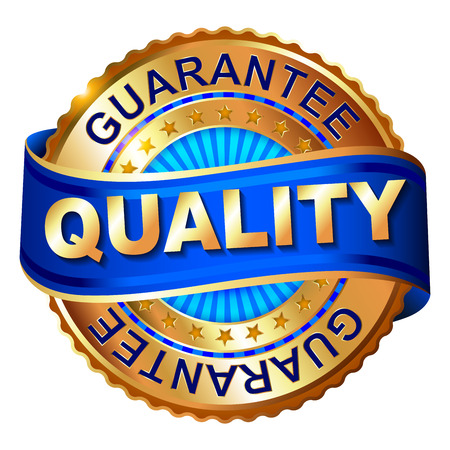 Quality golden label with ribbon Vectores