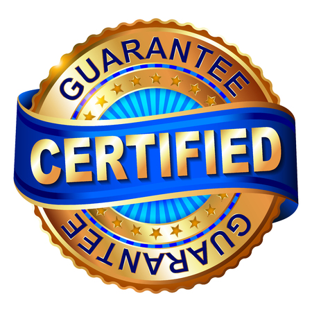 Certificated golden label with ribbon