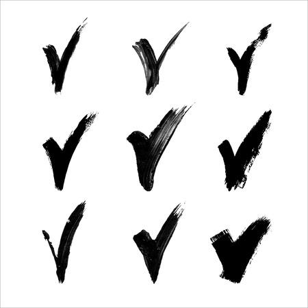 hand made: Hechas a mano de acr�lico negro iconos de validaci�n v Establezca