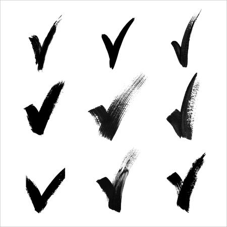 hand made: Hand made black acrylic validation V icons set