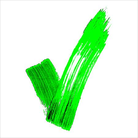 hand made: Hechas a mano de acr�lico verde iconos de validaci�n v Establezca Vectores