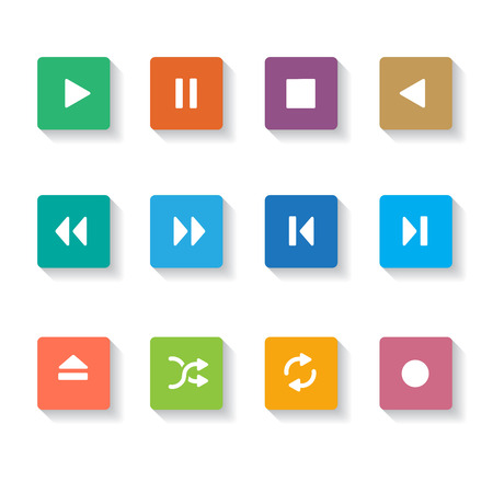 media buttons: Set of 12 square Media Buttons