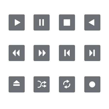 net bar: Set of 12 square Media Buttons