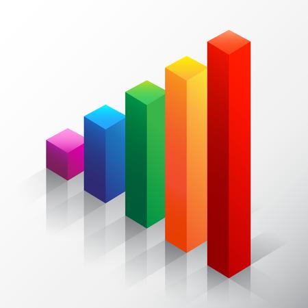 emphasizing: Colored bar chart emphasizing growth