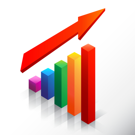 emphasizing: Colored bar chart emphasizing growth with arrow Illustration