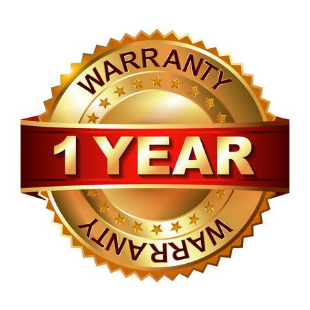 1 year warranty: 1 year warranty golden label with ribbon