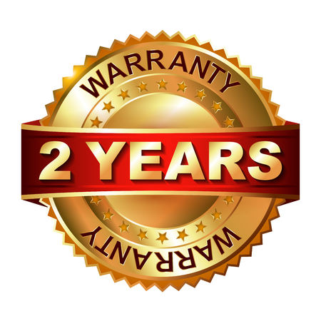 2 year warranty golden label with ribbon  イラスト・ベクター素材