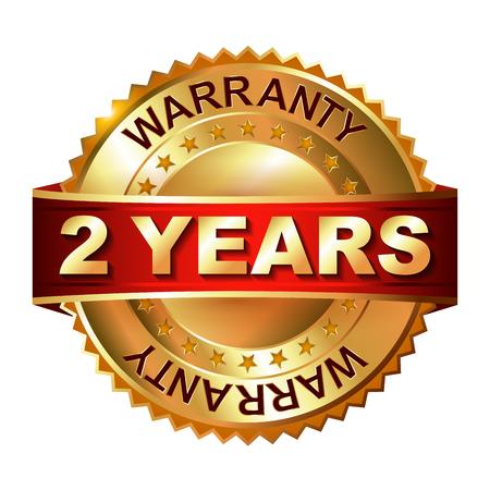 2 year warranty golden label with ribbon Stock Illustratie