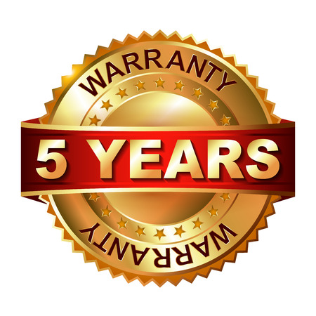 5 years warranty golden label with ribbon Vettoriali