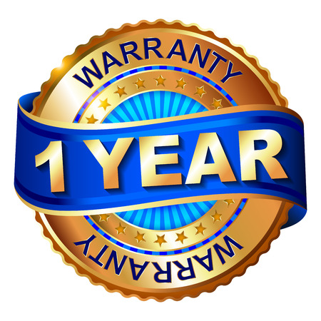 1 year warranty golden label with ribbon Stok Fotoğraf - 39043991