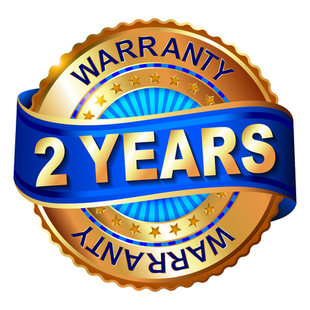 2 year warranty golden label with ribbon Banco de Imagens - 39043993