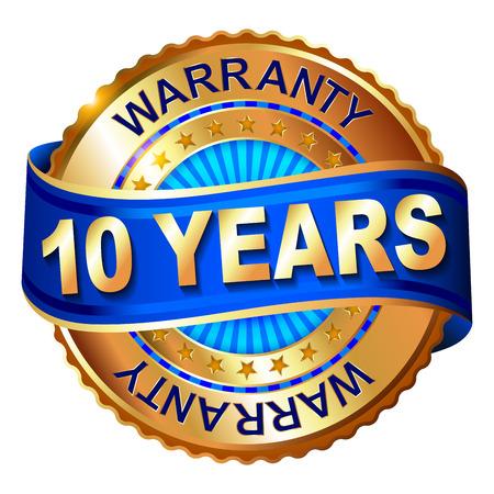 10 年保証のリボンと金色のラベル  イラスト・ベクター素材