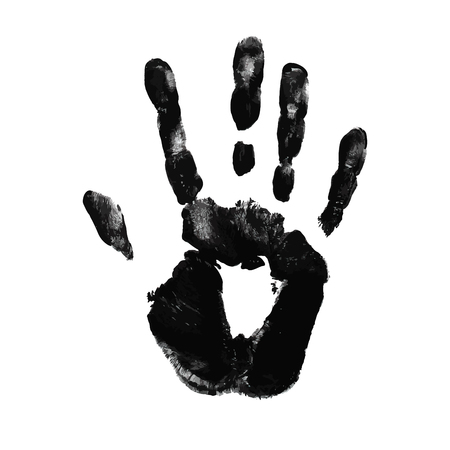 prints mark: Hand print on white background Illustration